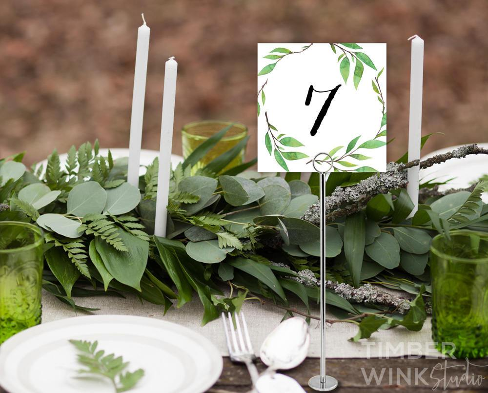 Botanical Wedding Table Number Card Printable Template