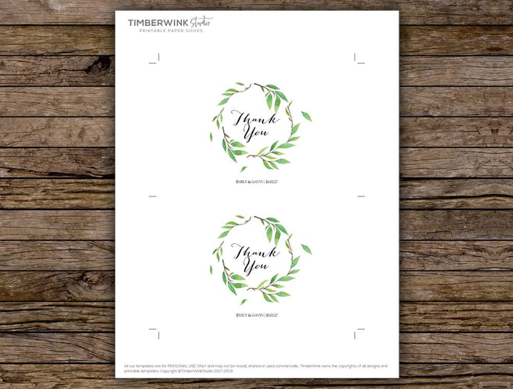 Green Leaf Botanical Wedding Thank You Card Printable Template Instant Download PDF