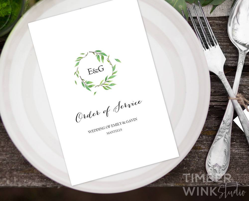 Green Leaf Wedding Invitation Printable Suite Template Instant Download PDF