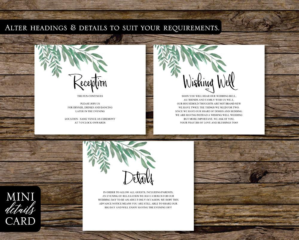 Greenery Botanical Wedding Enclosure/Details Card Printable Template Instant Download PDF