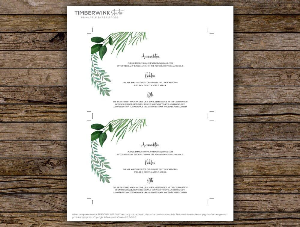 Greenery Botanical Wedding Enclosure/Info Card Printable Template Instant Download PDF