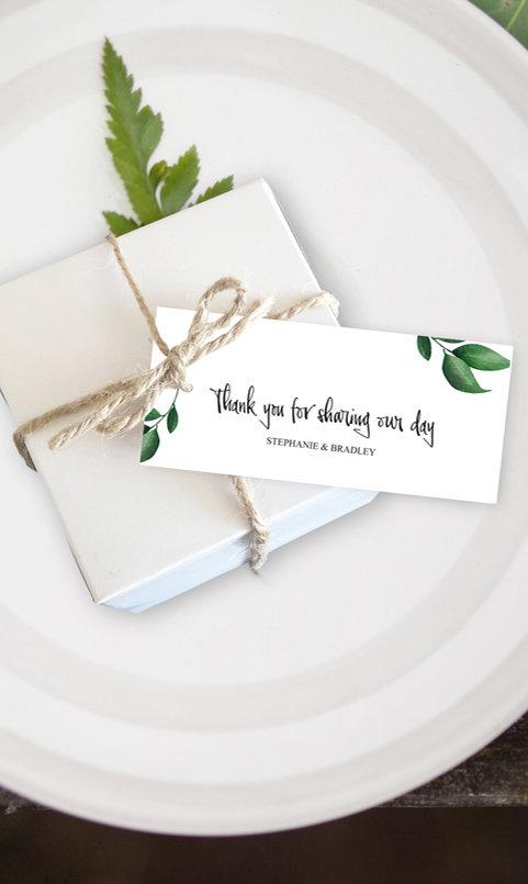 Greenery Botanical Wedding Favor Tag Printable Template Instant Download PDF