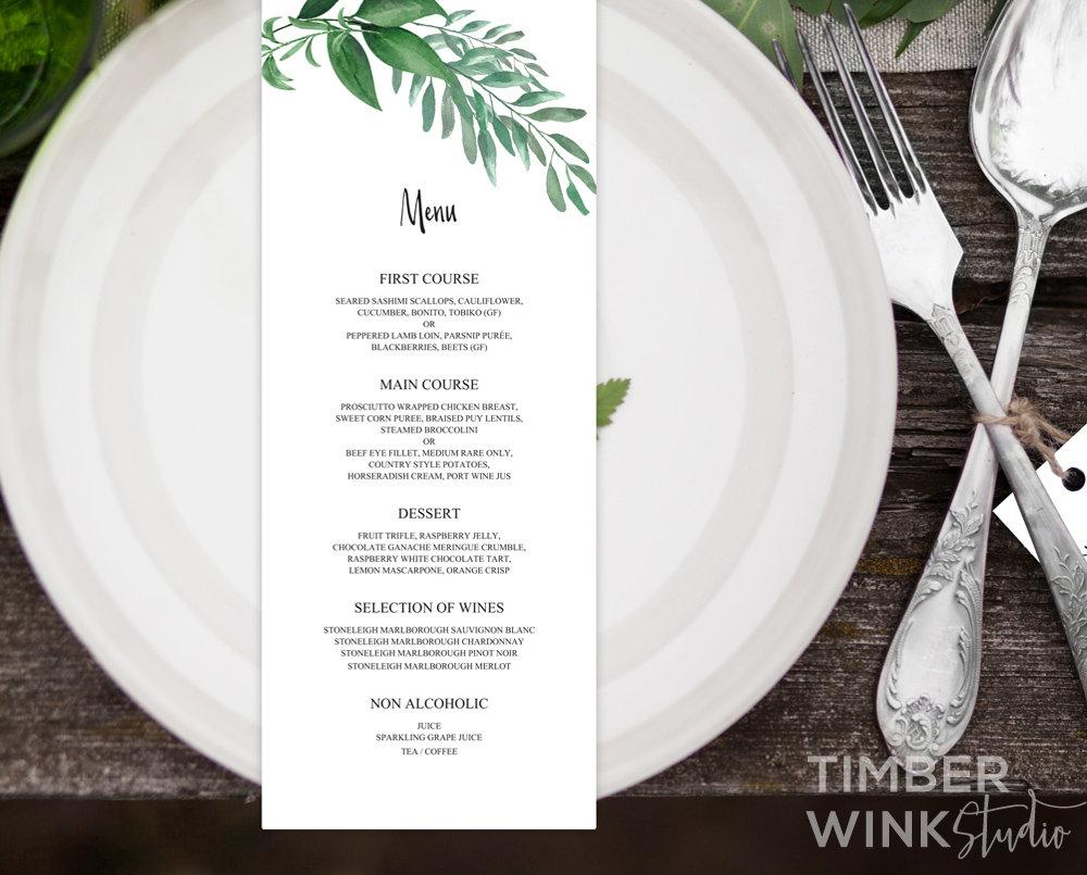 Greenery Botanical Wedding Menu Printable Template Instant Download PDF