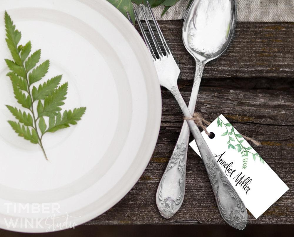 Greenery Botanical Wedding Place Card Printable Template Instant Download PDF