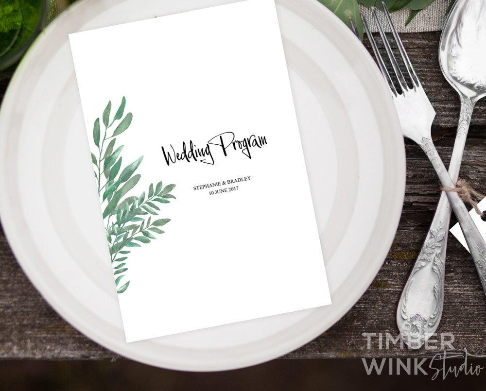 Greenery Botanical Wedding Program Printable Template Instant Download PDF