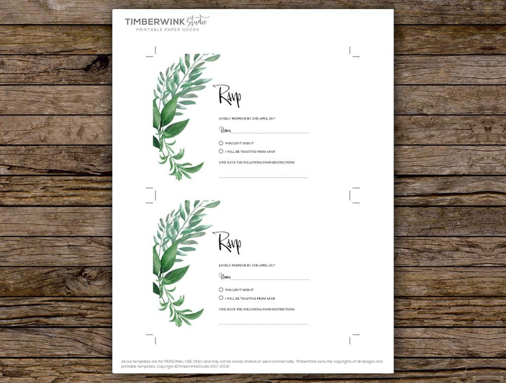 Greenery Botanical Wedding RSVP Card Printable Template Instant Download PDF