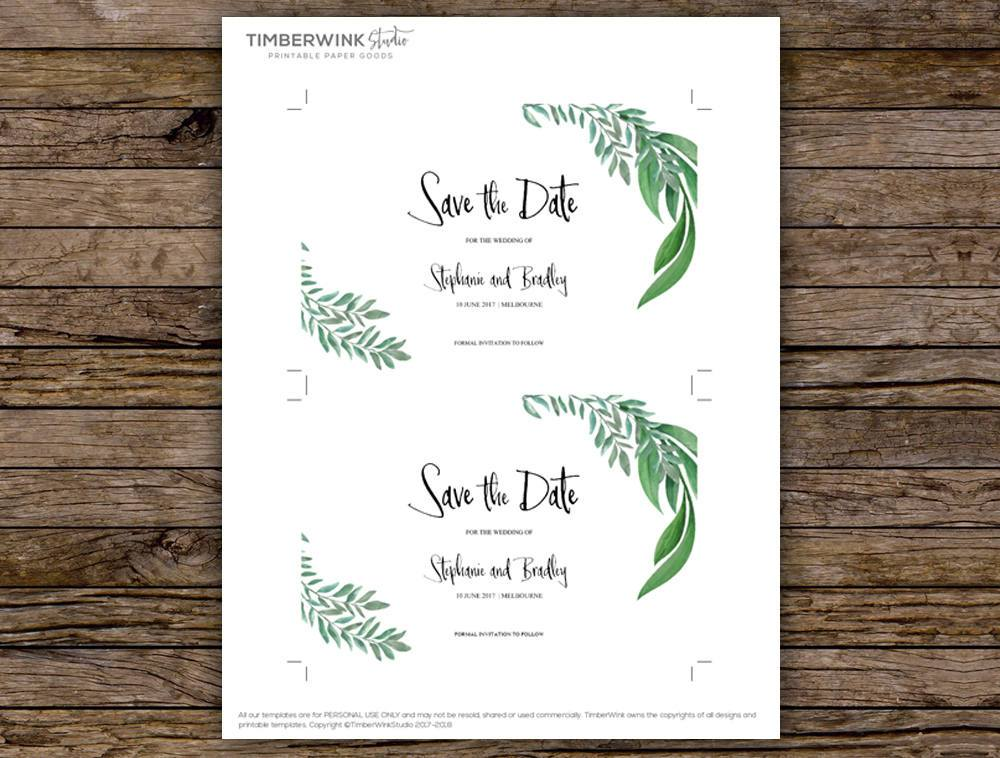 Greenery Botanical Wedding Save The Date Card Printable Template Instant Download PDF