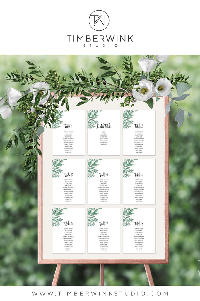 Greenery Botanical Wedding Seating Plan Printable Template Instant Download PDF