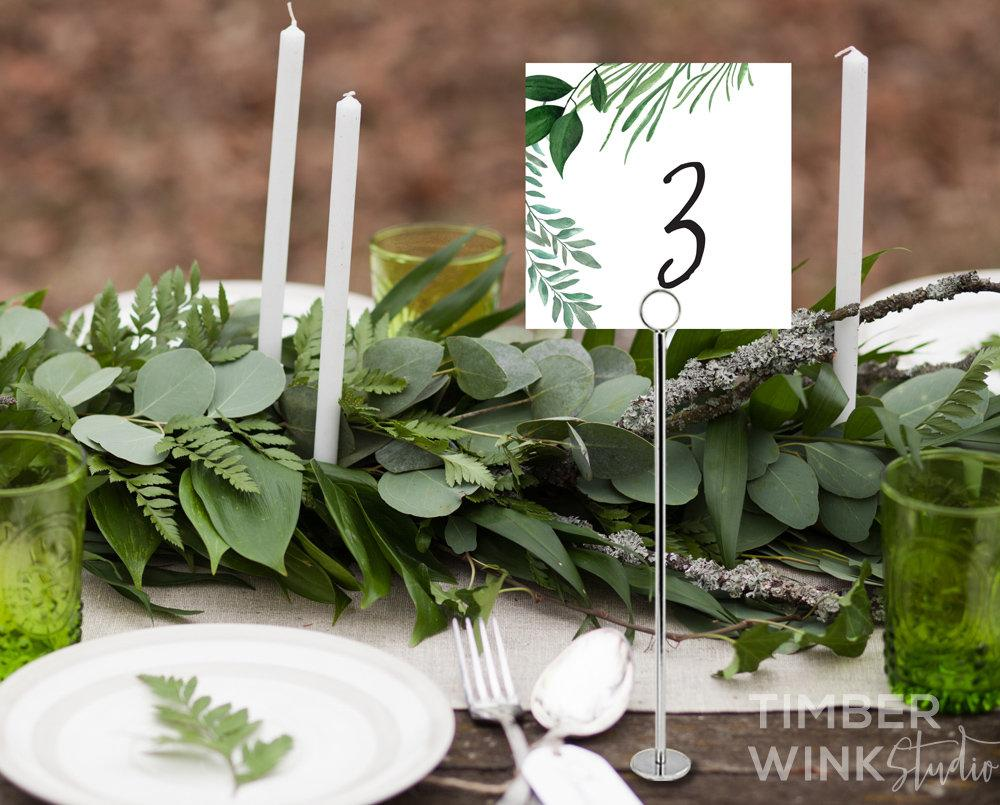 Greenery Botanical Wedding Table Number Card Printable Template Instant Download PDF