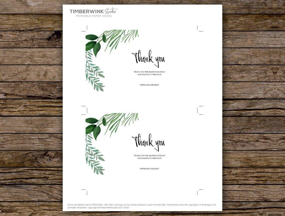 Greenery Botanical Wedding Thank You Card Printable Template Instant Download PDF