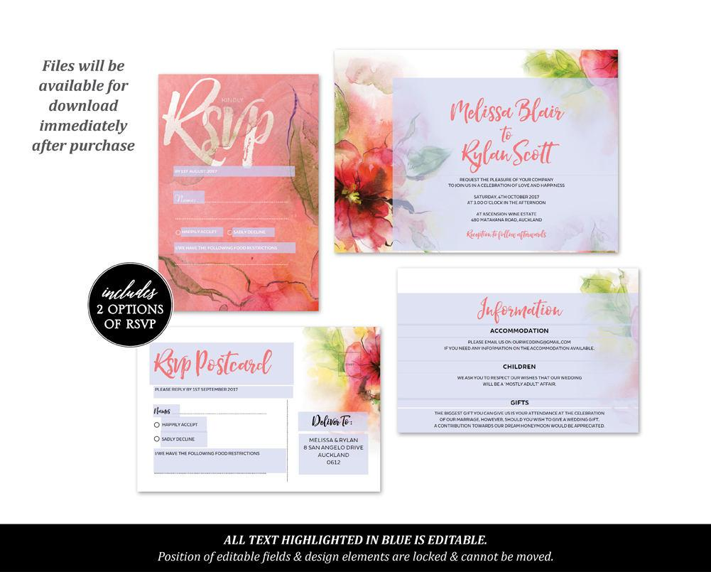 Greenery & Pink Floral Watercolour Wedding Invitation Printable Template Instant Download PDF