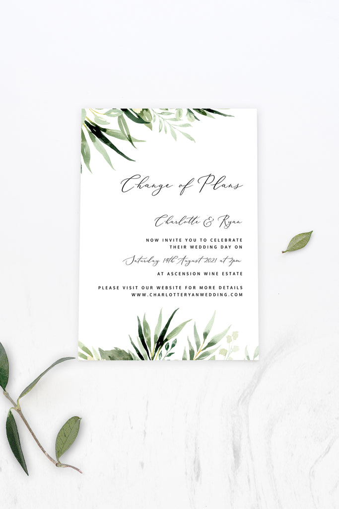 Greenery Wedding Change Of Plans Printable Template Instant Download Templett PDF