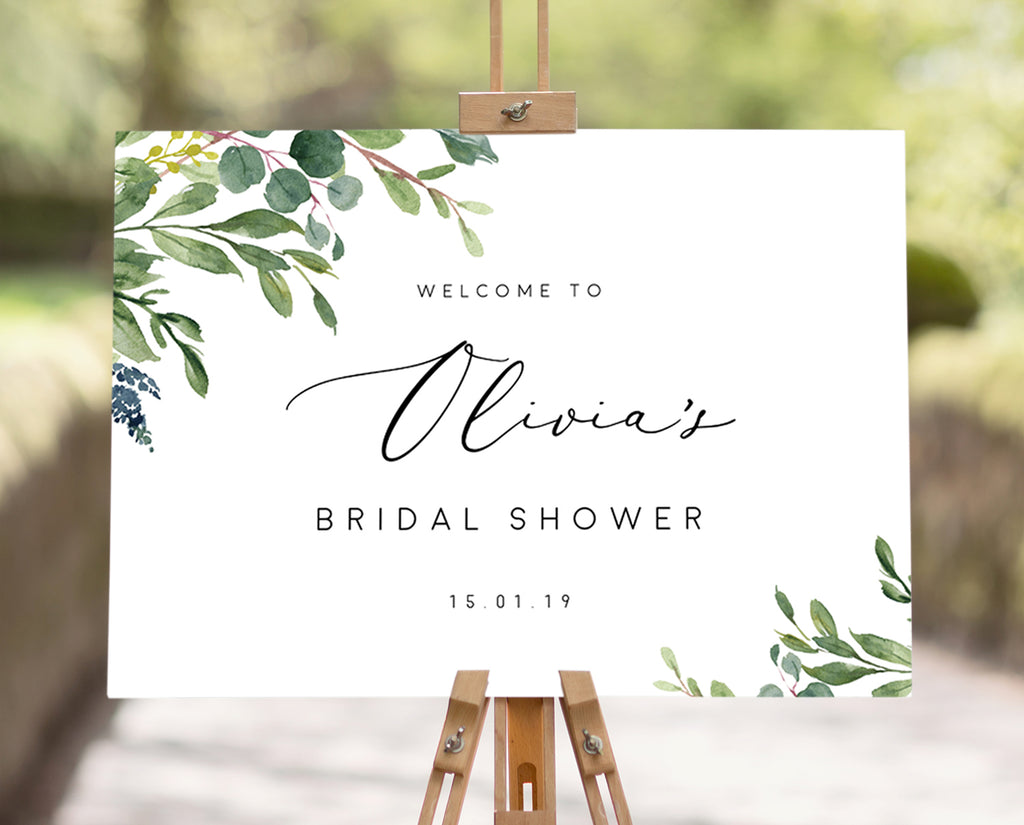 Greenery Eucalyptus Bridal Shower Sign Printable Template Instant Download PDF