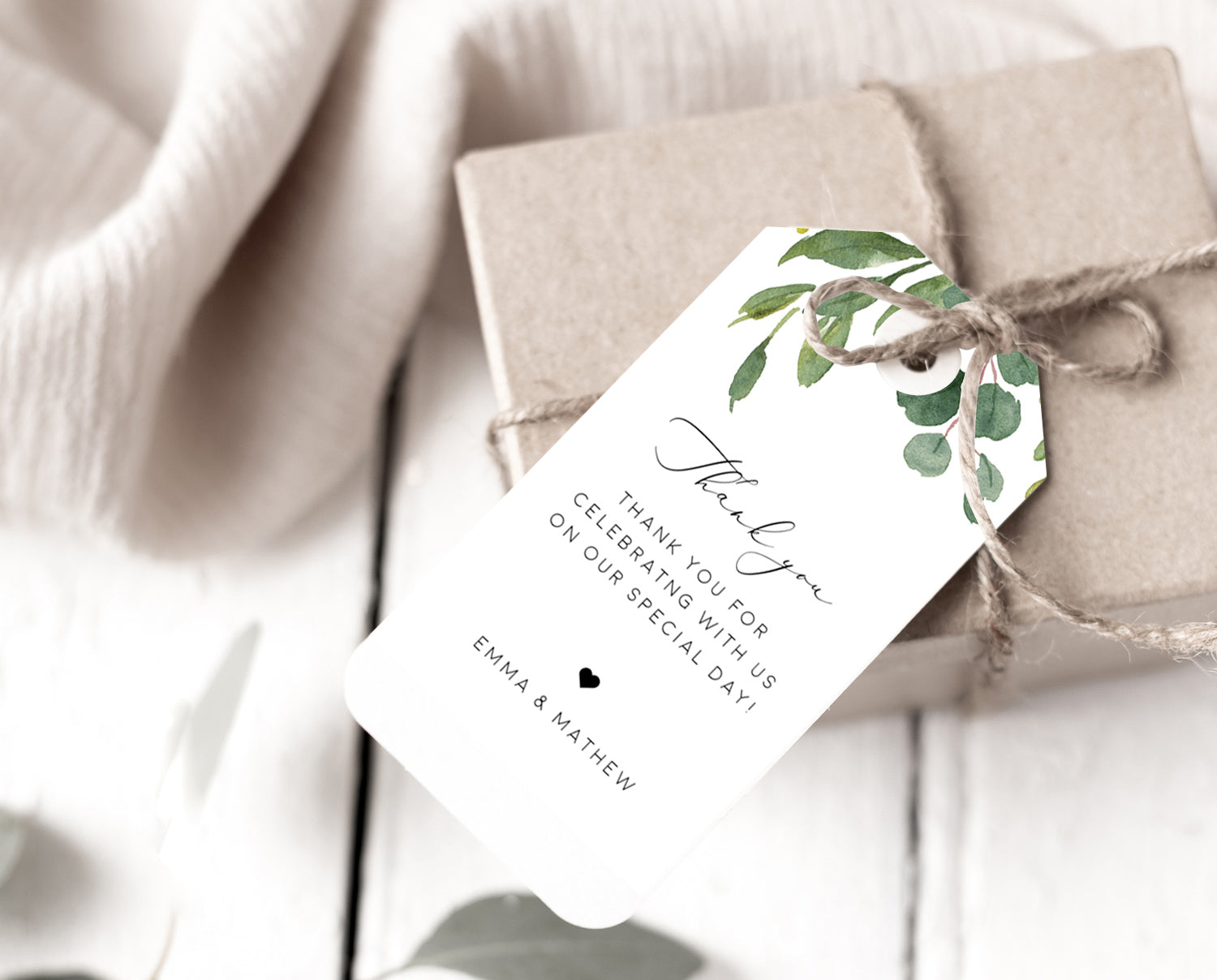 Thank You Favor Tag Template TRY BEFORE You BUY 100/% Editable Instant Download Greenery Wedding Tag Printable