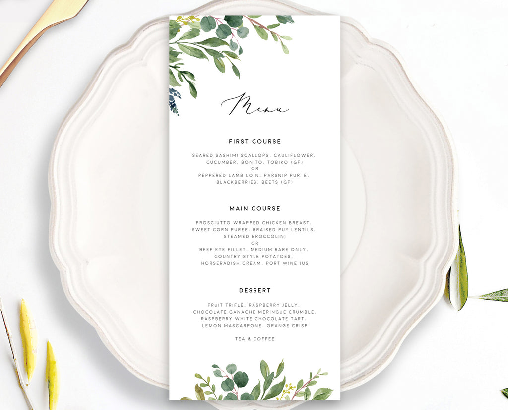 Greenery Eucalyptus Wedding Menu Printable Template Instant Download Templett 100% Editable PDF