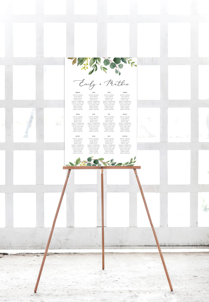 Greenery Eucalyptus Wedding Seating Plan Printable Template Instant Download PDF