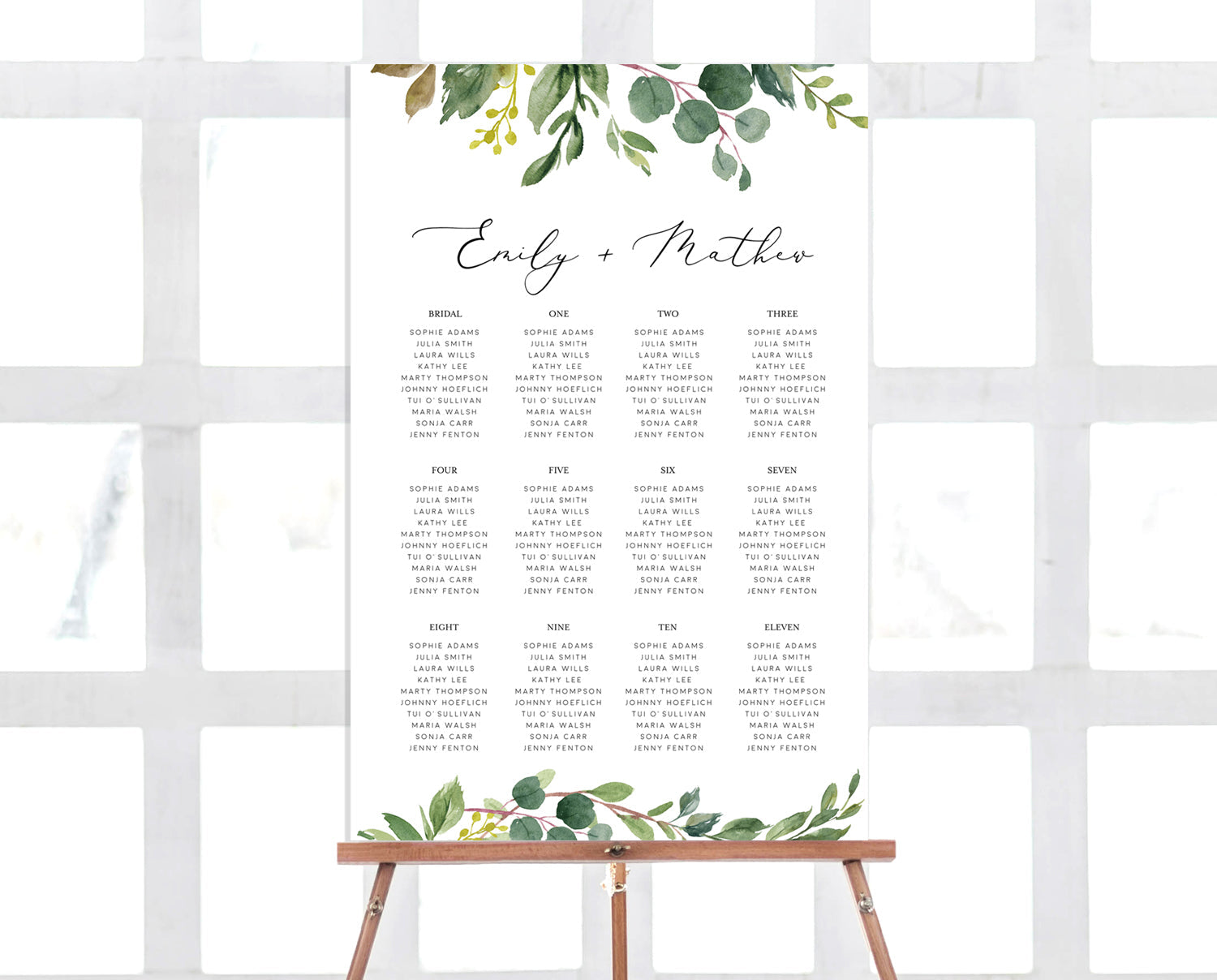 Seating Chart Template Greenery Timberwink Studio