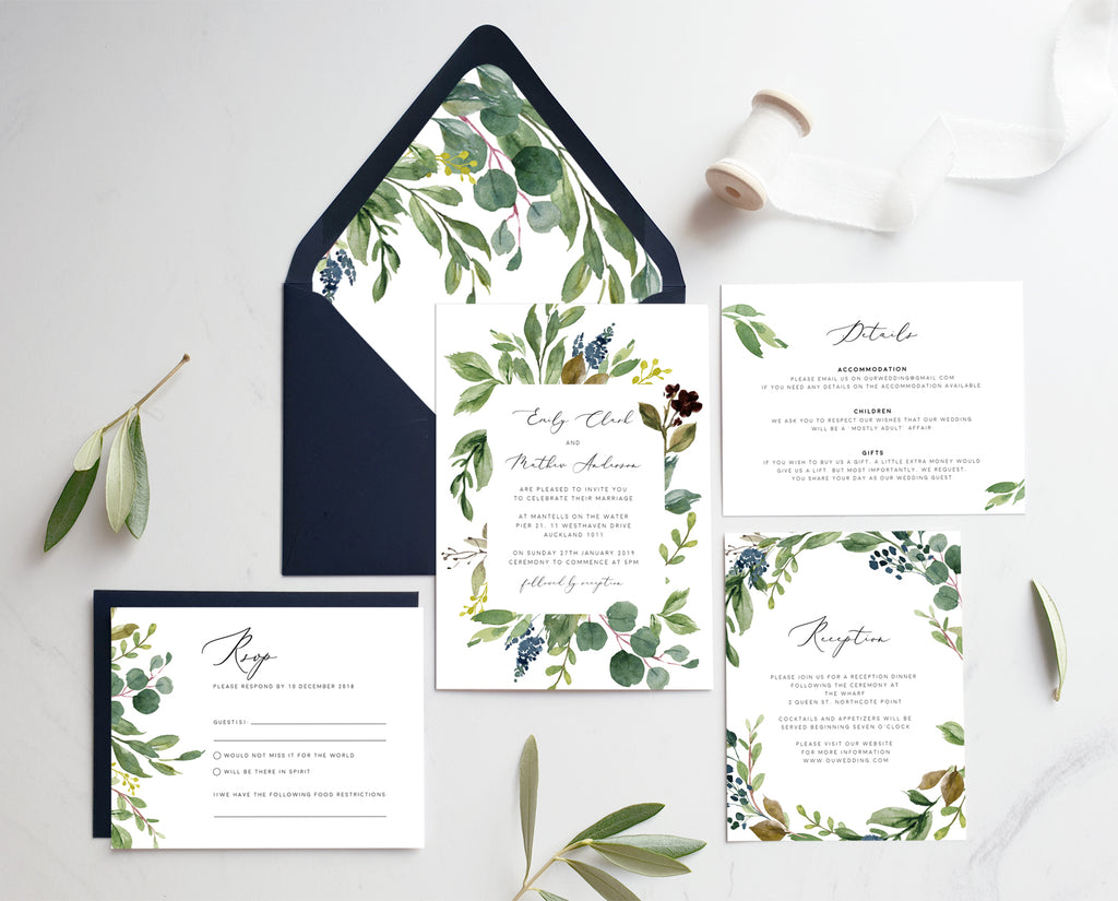Greenery Eucalyptus Wedding Invitation Printable Template Instant Download Templett PDF