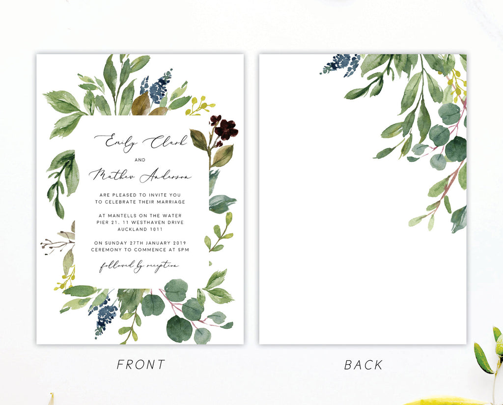 Greenery Wedding Eucalyptus Invitation Printable Template Instant Download Templett PDF