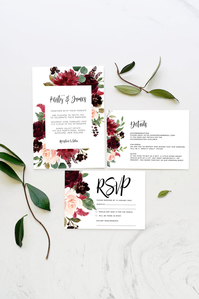 Burgundy Marsala Floral Greenery Wedding Invitation Suite Printable Template Instant Download Templett PDF