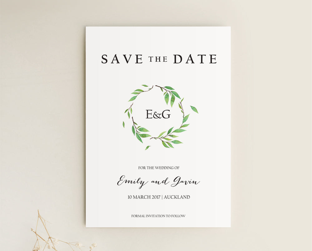 Botanical Wedding Save The Date Card Printable Template
