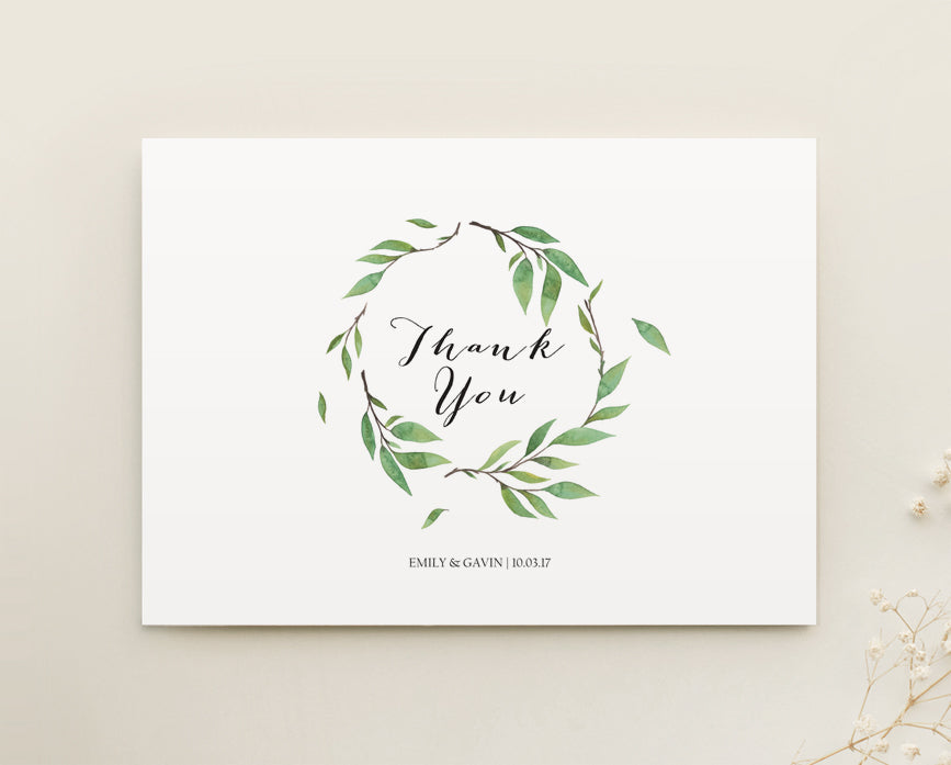 Botanical Wedding Thank You Card Printable Template