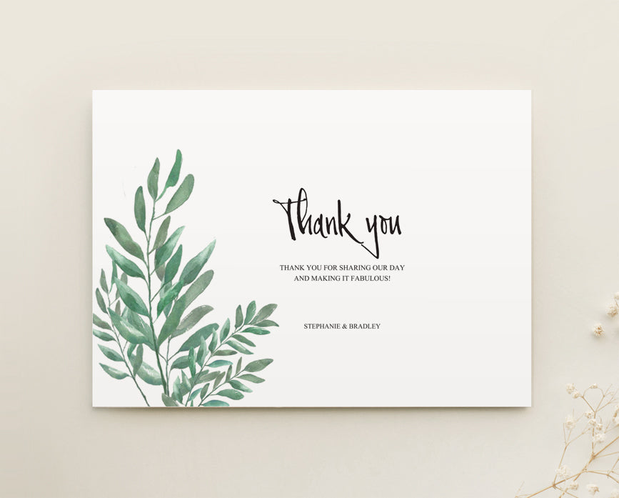 Greenery Wedding Thank You Card Printable Template