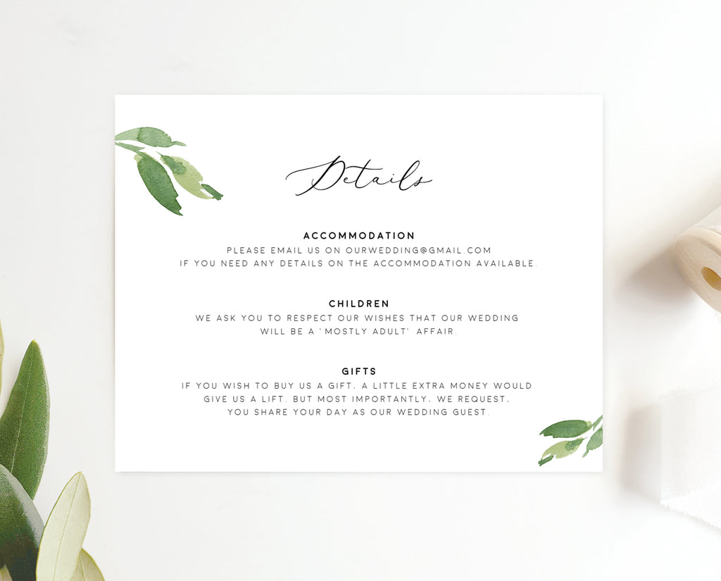 Greenery Eucalyptus Wedding Enclosure/Details Card Printable Template Instant Download Templett PDF