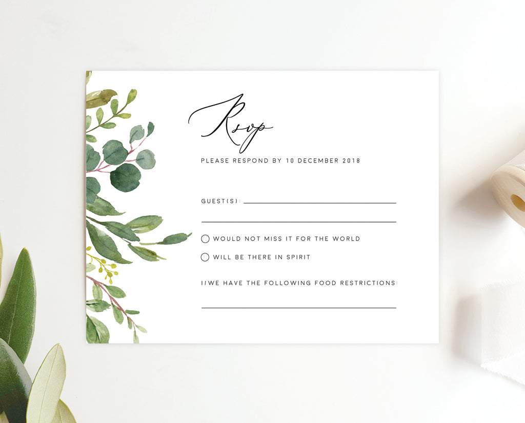 Greenery Eucalyptus Wedding RSVP Card Printable Template Instant Download Templett PDF