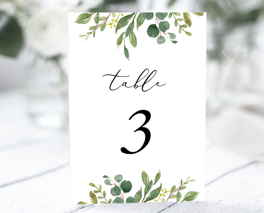 Greenery Eucalyptus Wedding Table Number Printable Template