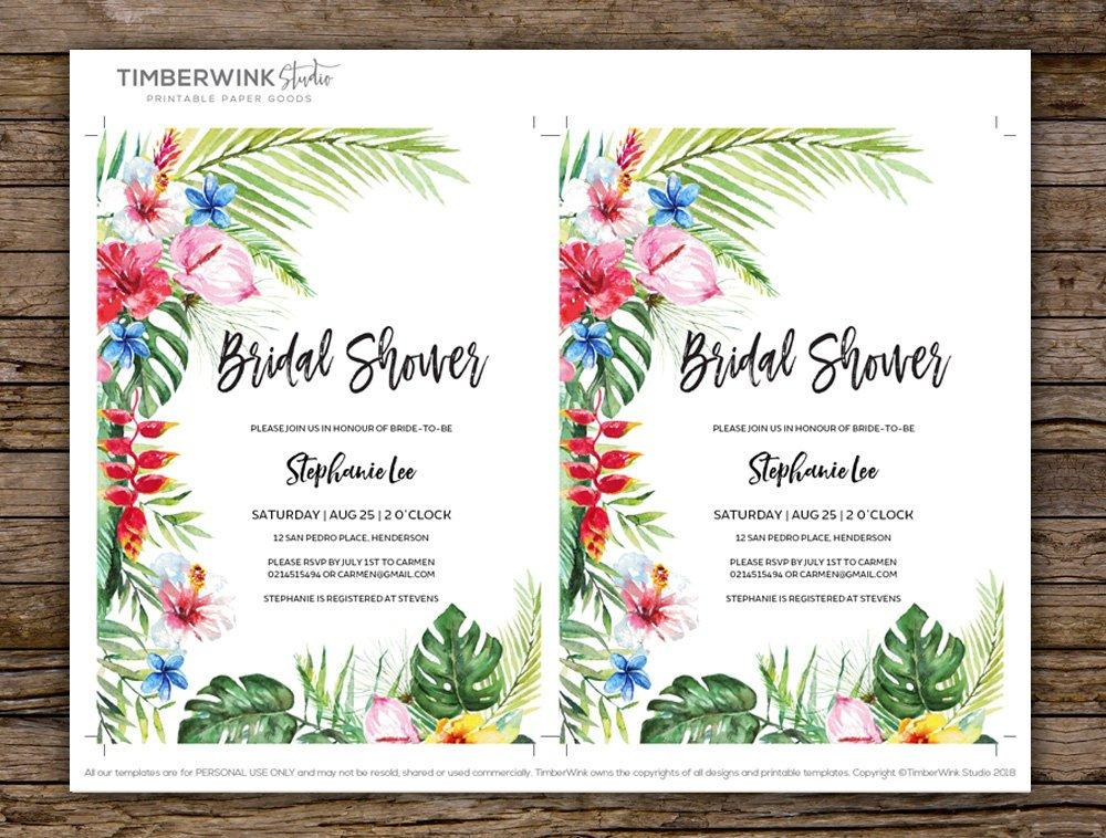 Hawaiian Tropical Bridal Shower Invitation Printable Template Instant Download PDF