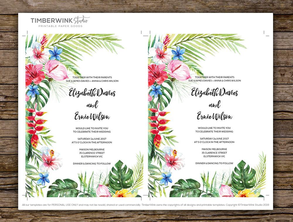 Hawaiian Tropical Wedding Invitation Printable Template Instant Download PDF