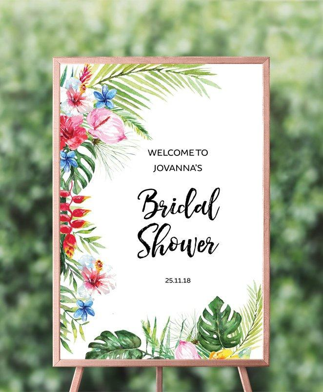 "Hawaiian Tropical Wedding Shower Welcome Sign 13 x 19"" Printable Template Instant Download PDF"