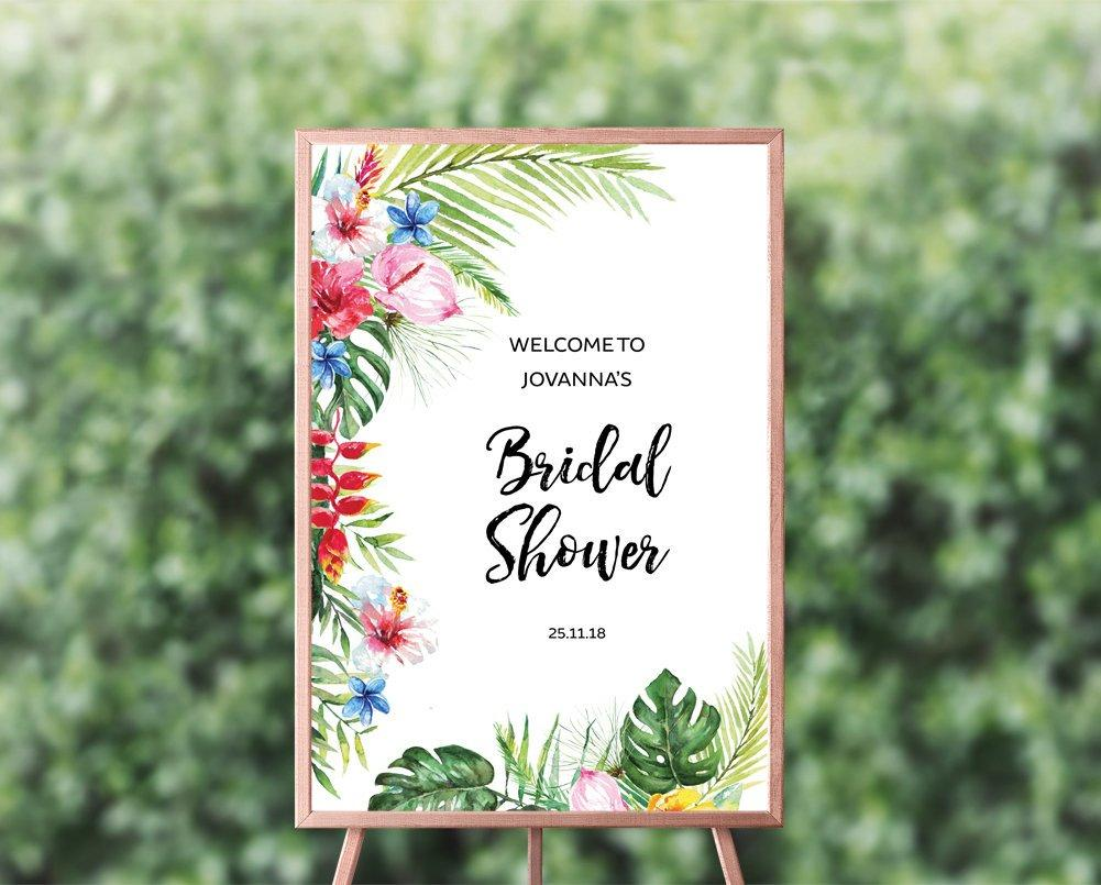 "Hawaiian Wedding Shower Welcome Sign 13 x 19"" Printable Template"