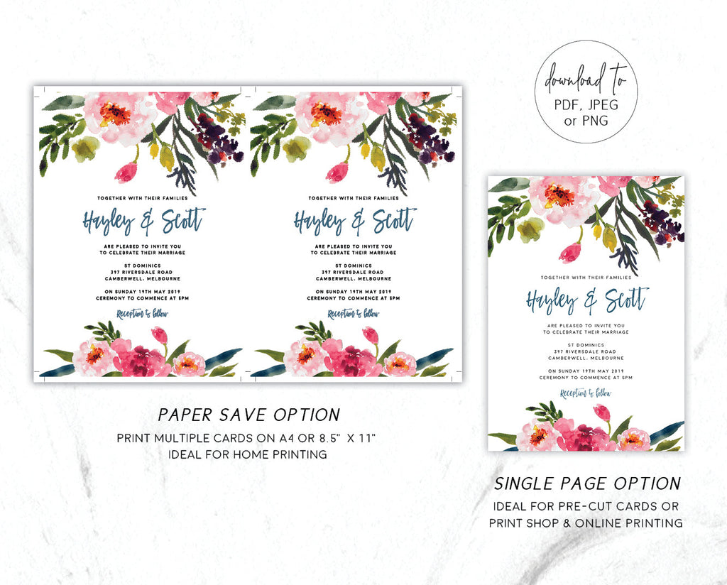 Watercolour Pink Peony Wedding Invitation Suite Printable Template Instant Download Templett PDF