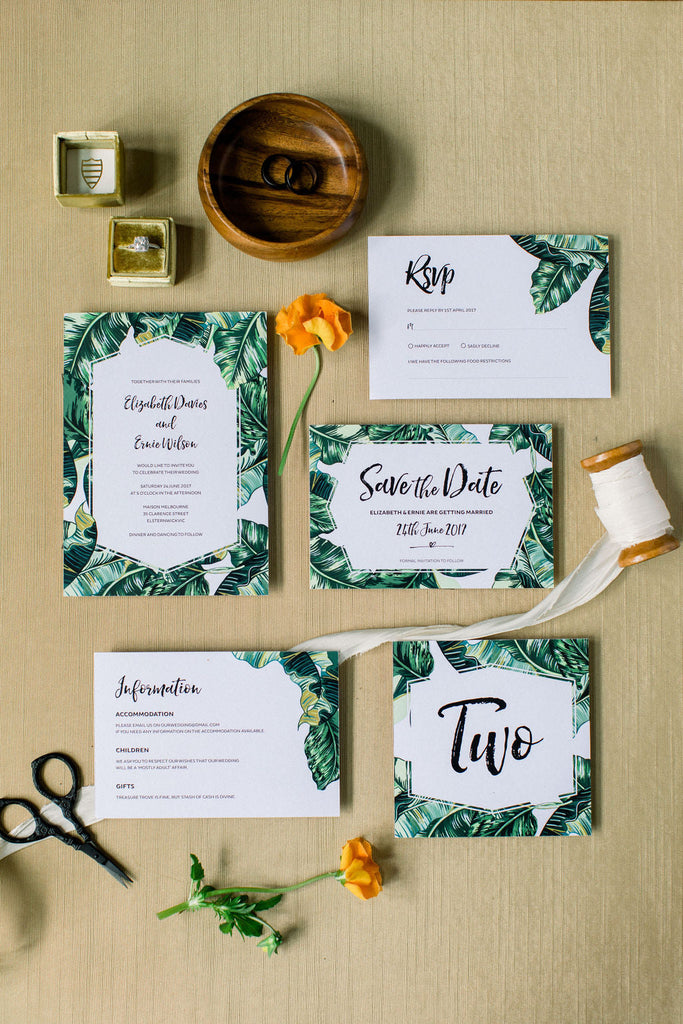 Tropical Wedding Table Number Card Printable Template