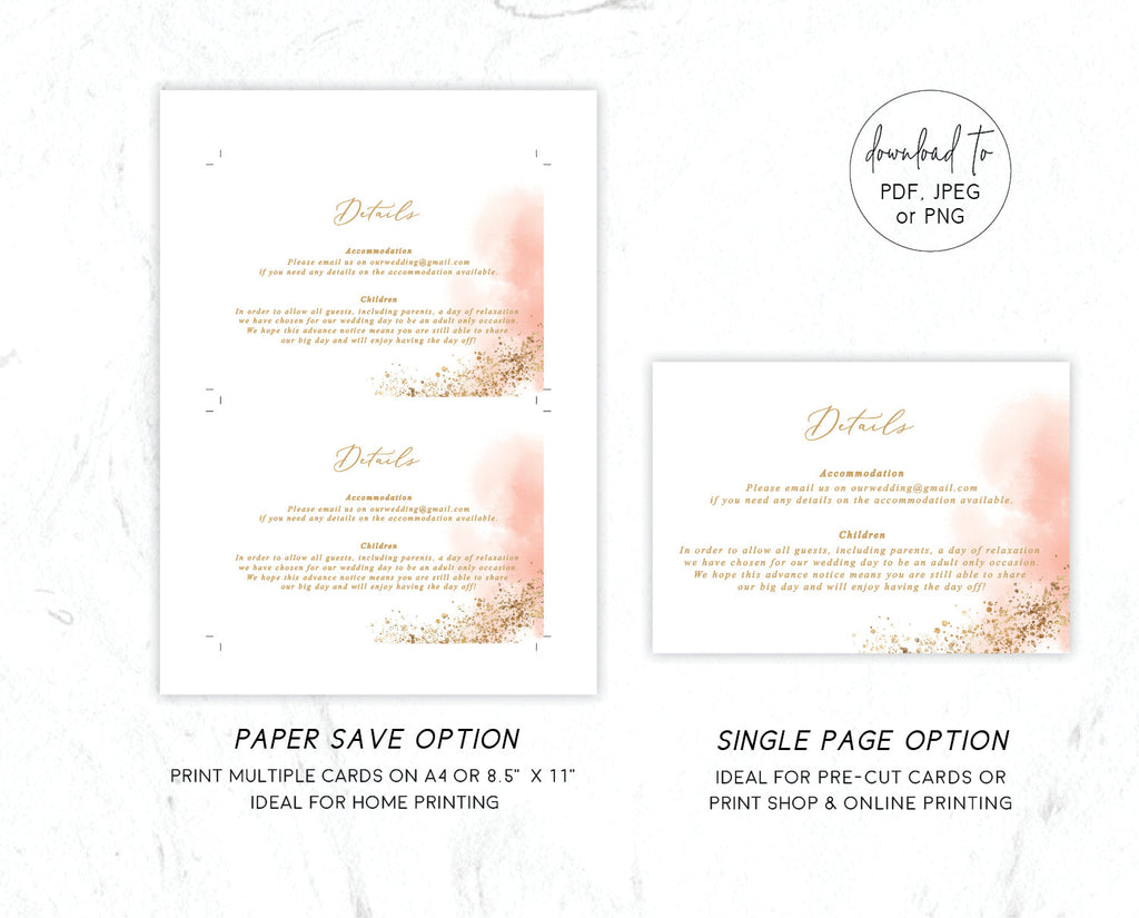 Pink Gold Glitter Wedding Enclosure/Details Card Printable Template Instant Download Templett PDF