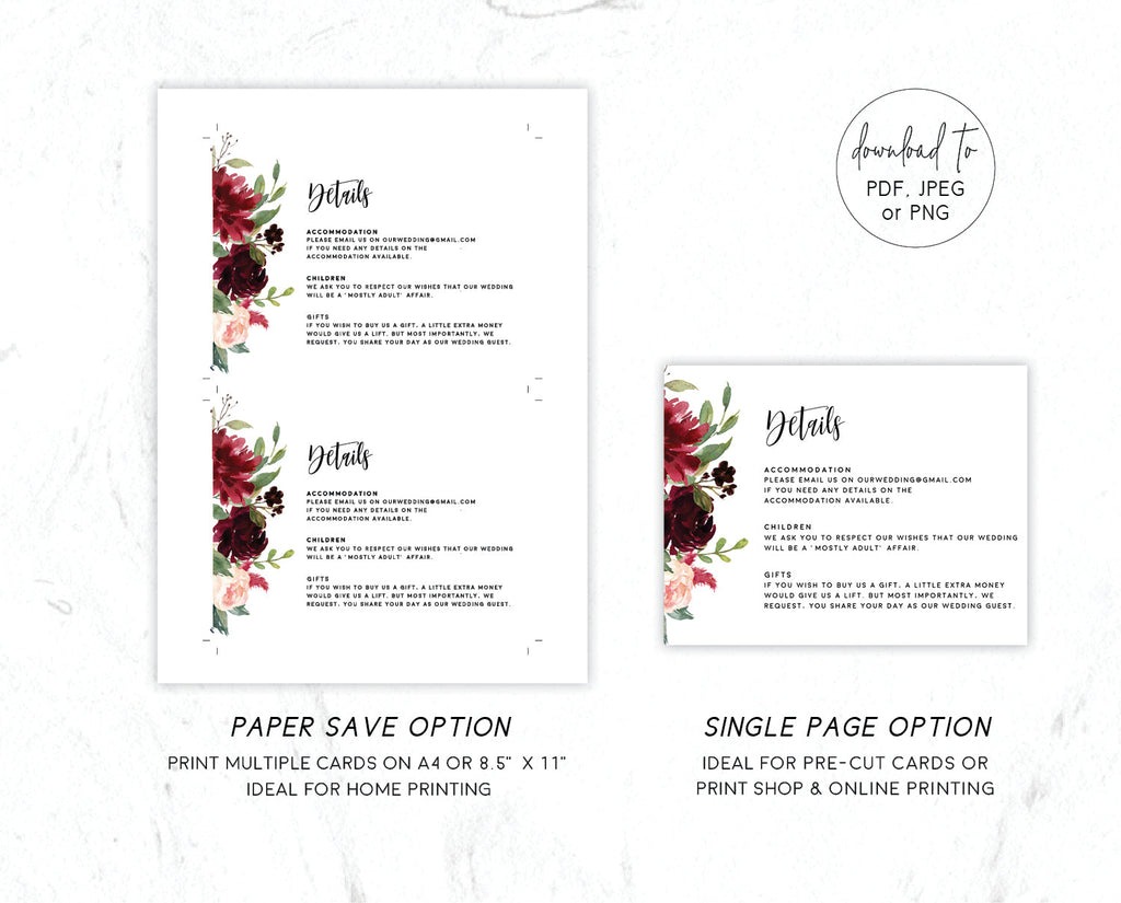 Burgundy Marsala Floral Greenery Wedding Enclosure/Details Card Printable Template Instant Download Templett PDF