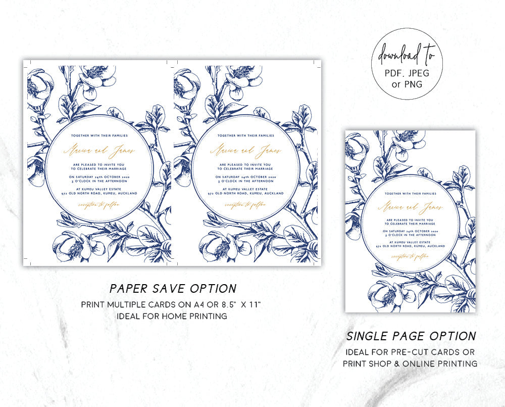 Cherry Blossom Wedding Invitation Set Printable Template