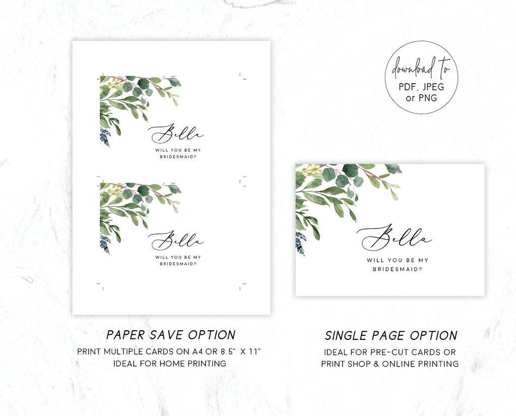 Greenery Wedding Eucalyptus Bridesmaids Card Printable Template Instant Download Templett 100% Editable PDF