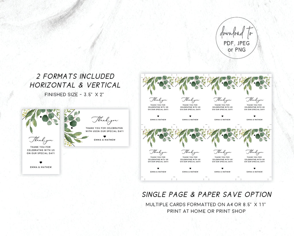 Greenery Wedding Eucalyptus Favor Tag Printable Template Instant Download Templett 100% Editable PDF