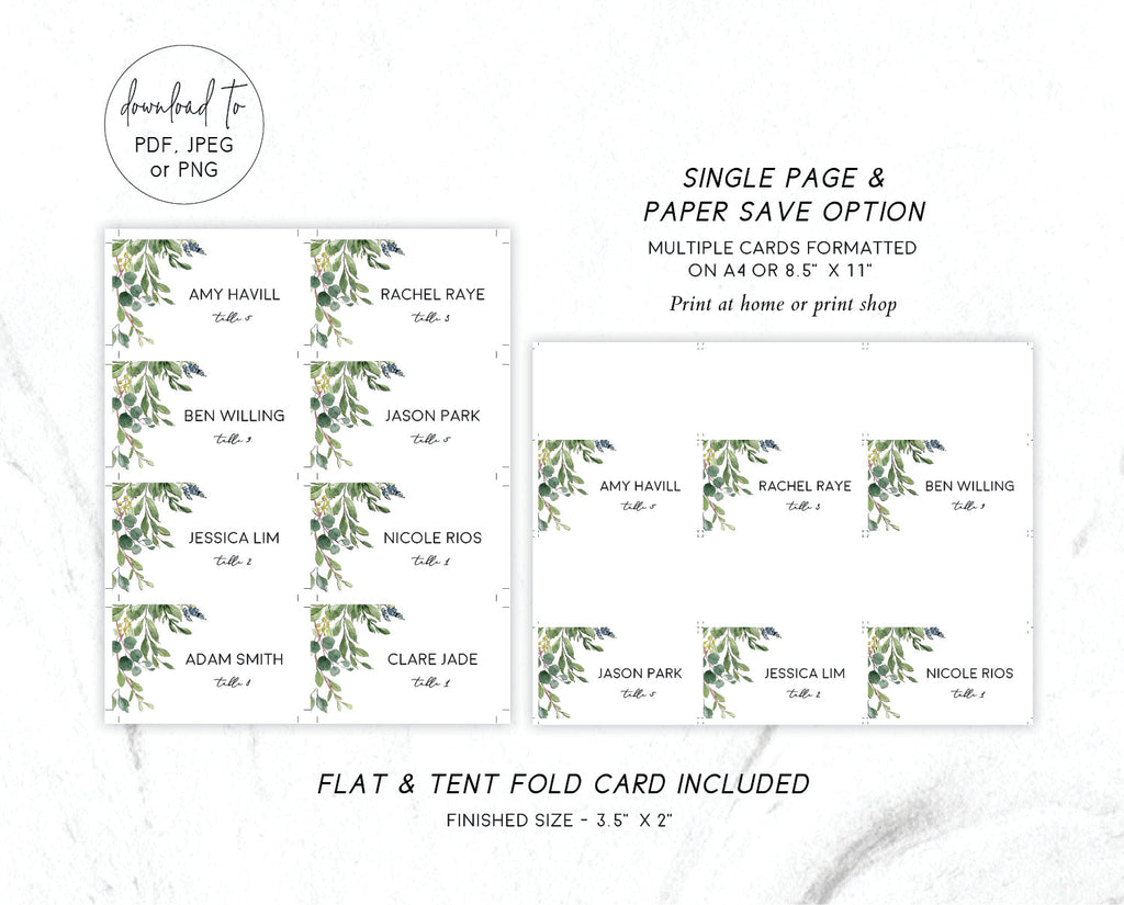 Greenery Wedding Place Card Printable Template Instant Download Templett 100% Editable PDF