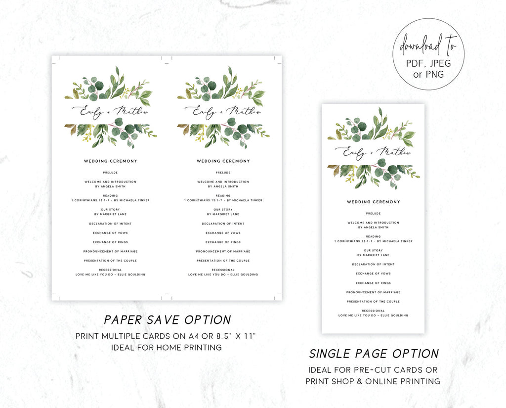 Greenery Eucalyptus Wedding Ceremony Program Printable Template Instant Download Templett 100% Editable PDF