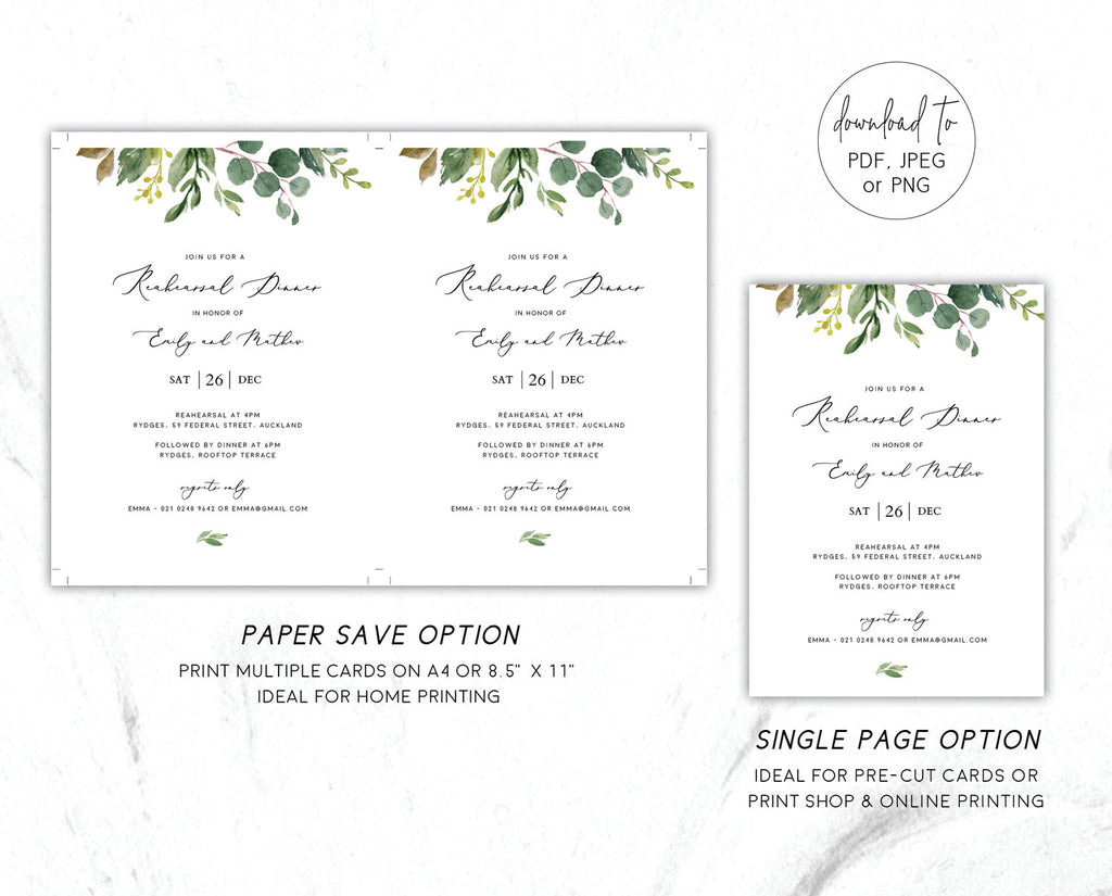 Greenery Wedding Eucalyptus Rehearsal Dinner Invitation Printable Template Instant Download Templett 100% Editable PDF