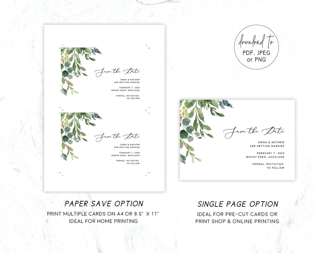 Greenery Eucalyptus Save The Date Card Printable Template Instant Download PDF
