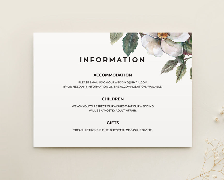 Magnolia Floral Wedding Information Card Printable Template