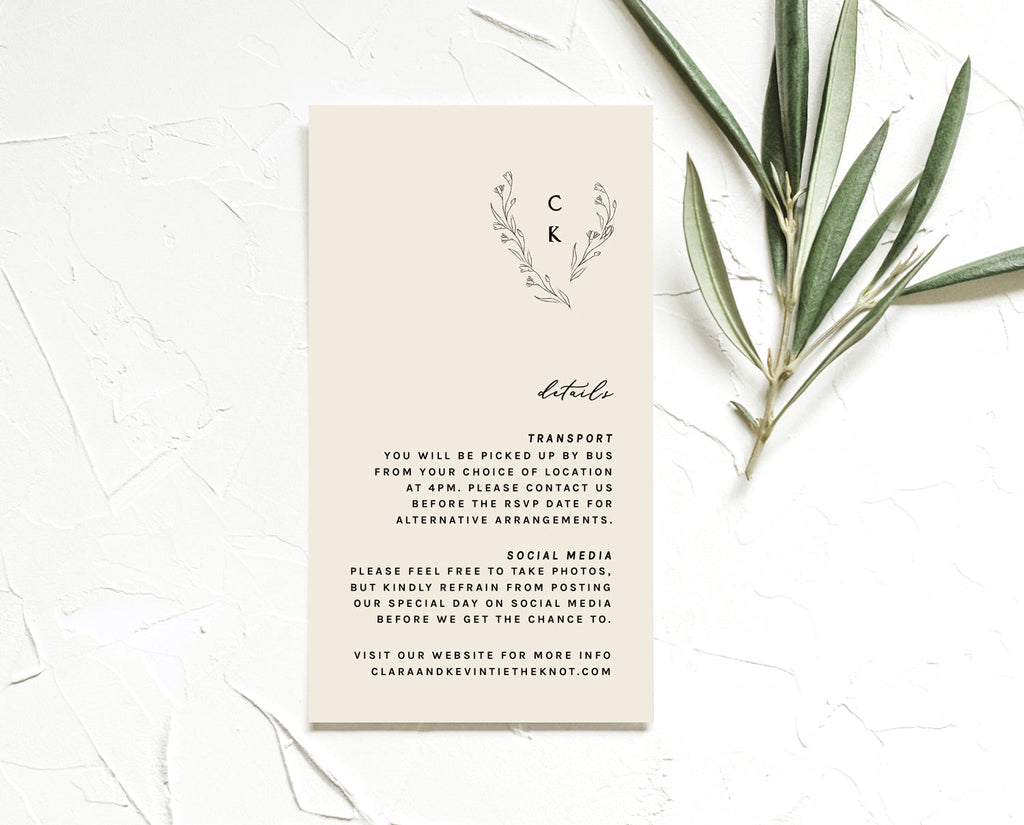 Modern Romantic Wedding Details Card Printable Template