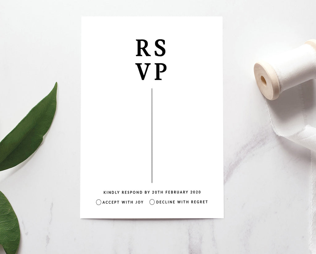 Modern & Minimalist Wedding RSVP Template Black and White