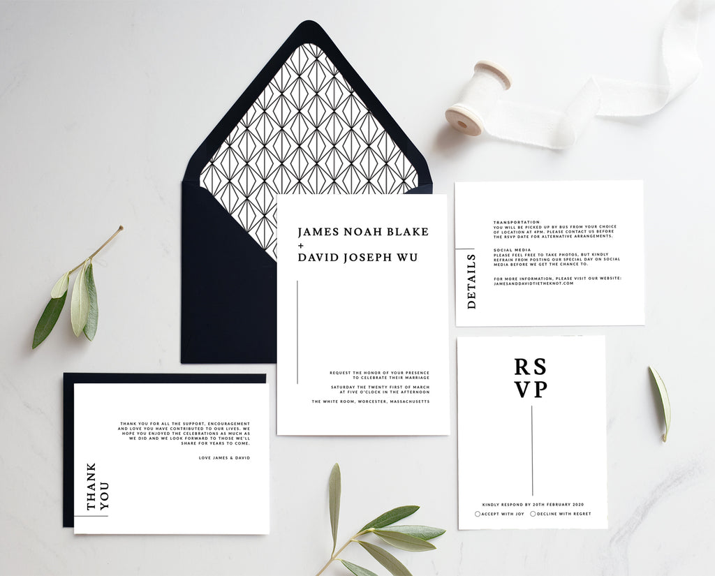 Black and White Modern Wedding Invitations Printable Template
