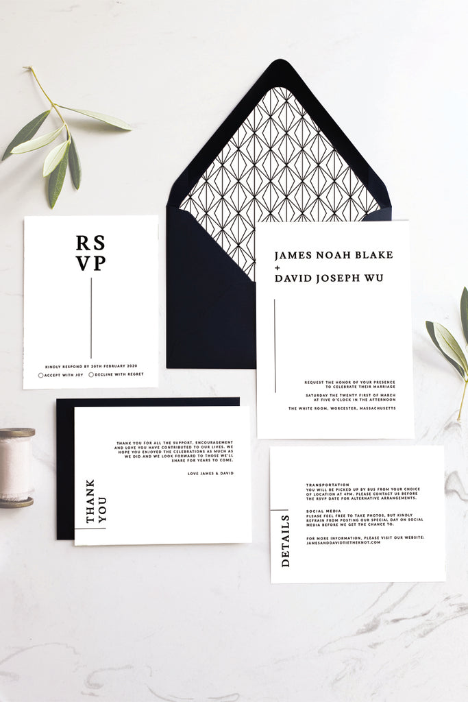 Modern and Minimalist Black and White Wedding Invitation Suite Printable Template